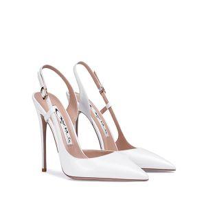 Schöne Ivory / Creme Strassenmode Slingpumps Sandalen Damen 2020 10 cm Stilettos Spitzschuh Sandaletten