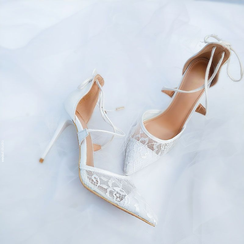 Chic / Beautiful White Wedding Shoes 2018 Lace Strappy 10 cm Stiletto Heels Pointed Toe Wedding High Heels