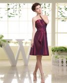 Strapless Ruffle Zipper Sleeveless Knee Length Taffeta Woman Bridesmaid Dresses