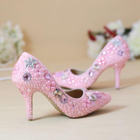 Chic / Belle 2019 Rose Bonbon Chaussure De Mariée Cristal Perle 8 cm Talons Aiguilles À Bout Pointu Mariage Escarpins