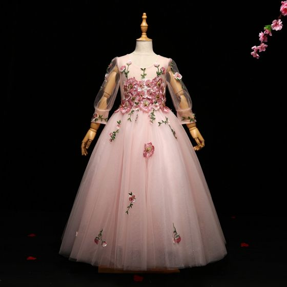 Chic / Beautiful Blushing Pink Flower Girl Dresses 2017 A-Line / Princess Lace Appliques Pearl Scoop Neck 3/4 Sleeve Floor-Length / Long Wedding Party Dresses