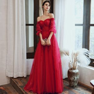 Charming Burgundy Evening Dresses  2020 A-Line / Princess Off-The-Shoulder Beading Sequins Lace Flower 1/2 Sleeves Backless Floor-Length / Long Formal Dresses