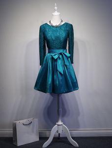 2016 Décolleté Glamour Longueur Des Manches Longues Sans Dossier Du Genou Robe De Fête Avec Un Noeud Guillotine