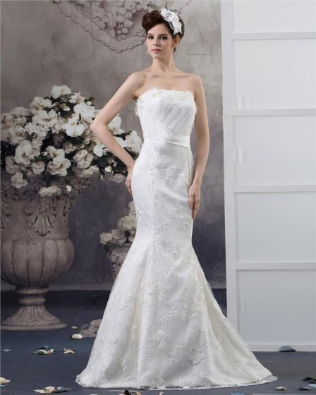 Strapless Floor Length Flower Beading Pleated Lace Mermaid Wedding Dress