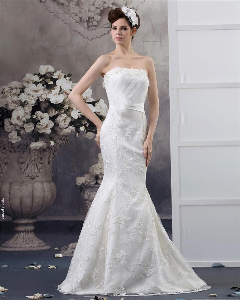 Strapless Floor Length Flower Beading Pleated Lace Mermaid Wedding Dress