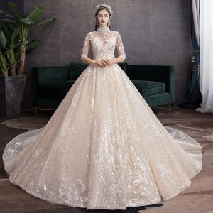 Elegant High-end Champagne Wedding Dresses 2020 Ball Gown High Neck Beading Sequins Appliques 3/4 Sleeve Backless Royal Train