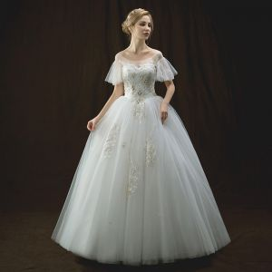 Chic / Beautiful Ivory Wedding Dresses 2018 Ball Gown See-through Scoop Neck Short Sleeve Backless Appliques Lace Rhinestone Beading Floor-Length / Long Ruffle