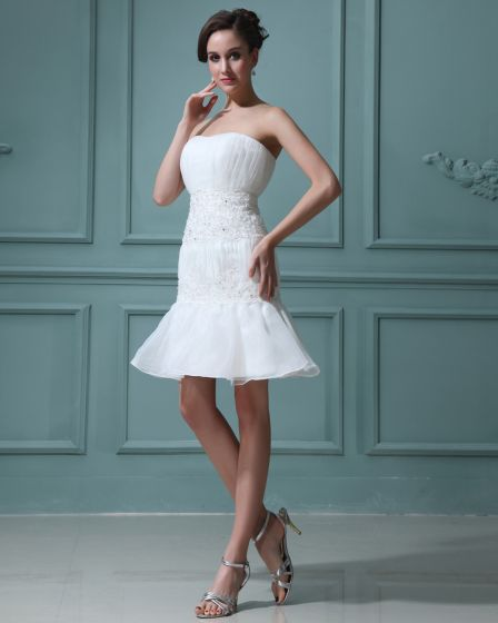 Sleeveless Satin Yarn Applique Sweetheart Short Mini Wedding Dresses