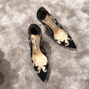 Moderne / Mode Noire Rendez-vous Escarpins 2019 Étoile Faux Diamant Paillettes 8 cm Talons Aiguilles À Bout Pointu Escarpins