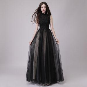 Chinese style Black Prom Dresses 2018 A-Line / Princess High Neck Sleeveless Appliques Lace Beading Sequins Floor-Length / Long Ruffle Formal Dresses