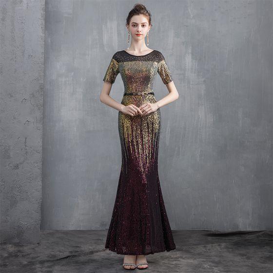 Sparkly Gold Sequins Evening Dresses  2020 Trumpet / Mermaid Scoop Neck Short Sleeve Metal Sash Floor-Length / Long Formal Dresses