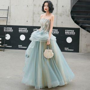 Moda Jade Zielony Sukienki Na Bal 2020 Princessa Bez Ramiączek Perła Bez Rękawów Bez Pleców Kaskadowe Falbany Długie Sukienki Wizytowe
