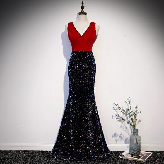 Charmant Rot Abendkleider 2019 Meerjungfrau V-Ausschnitt Pailletten Ärmellos Rückenfreies Lange Festliche Kleider