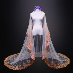 Vintage / Retro Ivory Tulle Royal Train Wedding 2018 Lace Appliques Wedding Veils