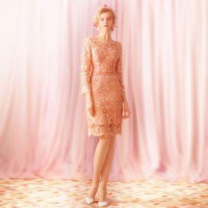 Élégant Perle Rose Robe De Mère De Mariée 2019 Encolure Dégagée Manches Longues Perlage Cristal Ceinture Courte Dos Nu Robe Pour Mariage