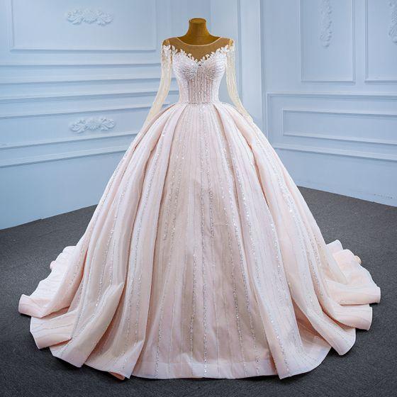 Luksusowe Szampan Przezroczyste ślubna Suknie Ślubne 2021 Suknia Balowa Wycięciem Długie Rękawy Frezowanie Cekiny Trenem Sąd Wzburzyć