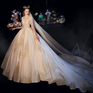 Luxury / Gorgeous Champagne See-through Wedding Dresses 2019 A-Line / Princess Deep V-Neck Short Sleeve Beading Tassel Backless Appliques Lace Cathedral Train Ruffle
