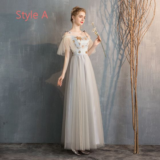 Elegant Champagne Grey Bridesmaid Dresses 2019 A-Line / Princess Star Sequins Floor-Length / Long Ruffle Backless Wedding Party Dresses