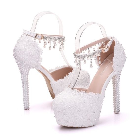 Elegant White Wedding Shoes 2018 Ankle Strap Lace Rhinestone Pearl Tassel 14 cm Stiletto Heels Round Toe Wedding High Heels