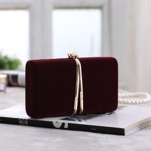 Vintage / Retro Burgundy Velour Square Clutch Bags 2020