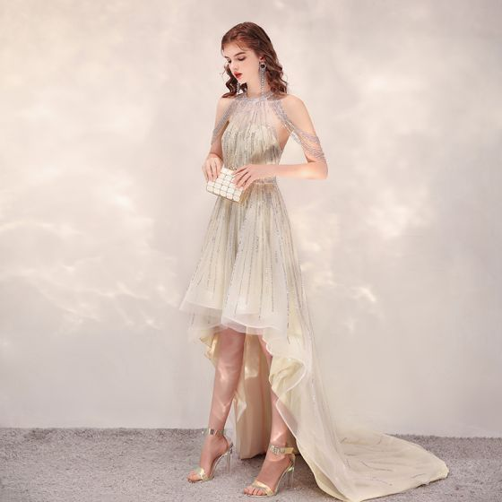 Hohes Niedriges Champagner Durchsichtige Cocktailkleider 2020 A Linie Rundhalsausschnitt Ärmellos Handgefertigt Perlenstickerei Asymmetrisch Rüschen Festliche Kleider