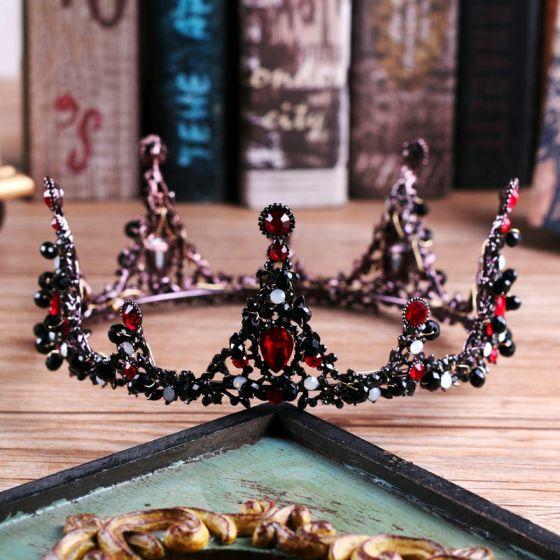 Vintage Black Bridal Jewelry 2017 Metal Beading Crystal Rhinestone Headpieces Prom Accessories