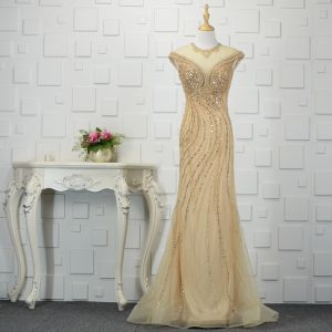 Luxury / Gorgeous Champagne Handmade  Beading Evening Dresses  Trumpet / Mermaid 2019 Crystal Sequins Pearl Rhinestone Scoop Neck Sleeveless Sweep Train Formal Dresses
