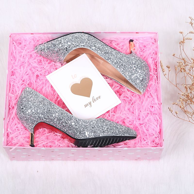 Sparkly Silver Wedding Shoes 2019 Sequins Polyester 7 cm Stiletto Heels Pointed Toe Wedding Pumps