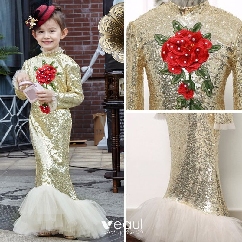 Chic / Beautiful Hall Wedding Party Dresses 2017 Flower Girl Dresses Gold Sequins Trumpet / Mermaid Floor-Length / Long High Neck Long Sleeve Flower Appliques Rhinestone