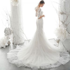 Elegant Ivory See-through Bridal Wedding Dresses 2020 Trumpet / Mermaid Scoop Neck 1/2 Sleeves Backless Appliques Lace Beading Court Train Ruffle