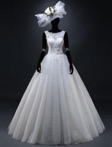 2015 Ballkleid Schulter Appliques Spitze Mit Perlen Blumen Hochzeitskleid