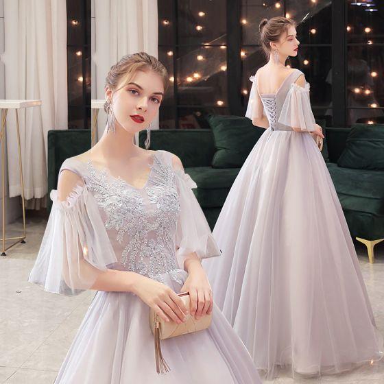 Elegant Grey Dancing Prom Dresses 2021 Ball Gown V-Neck Short Sleeve Appliques Lace Beading Floor-Length / Long Ruffle Backless Formal Dresses