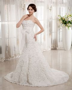 Applique Organza Flower Beading Sweetheart Chapel Empire Wedding Dress