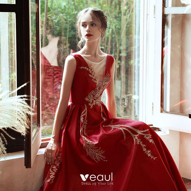 Elegante Rot Satin Abendkleider 2020 A Linie Durchsichtige ...