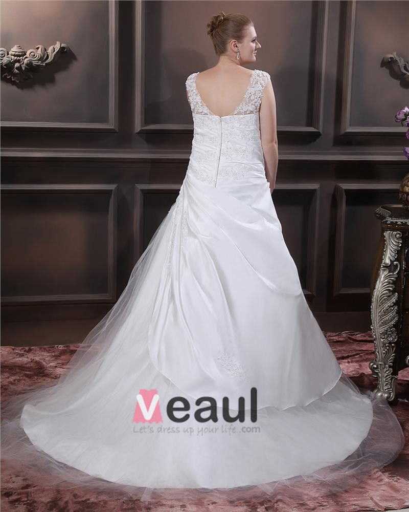 Designer Beading Round Neck Court Plus Size Bridal Gown Wedding Dresses