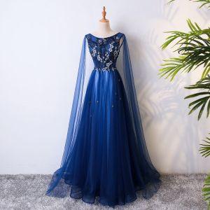 Hermoso Azul Real Vestidos de noche 2017 A-Line / Princess Con Encaje Flor Crystal Rebordear Scoop Escote Sin Espalda Sin Mangas Largos Vestidos Formales