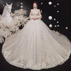 Vintage / Retro Victorian Style Champagne See-through Bridal Wedding Dresses 2020 Ball Gown High Neck Puffy Long Sleeve Backless Flower Appliques Lace Beading Glitter Tulle Cathedral Train Ruffle