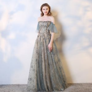 Charming Champagne Grey Evening Dresses  2019 A-Line / Princess Off-The-Shoulder Lace Sequins Short Sleeve Backless Floor-Length / Long Formal Dresses