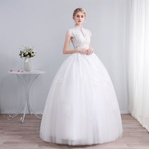Chinese style Ivory Wedding Dresses 2019 Ball Gown High Neck Cap Sleeves Backless Appliques Lace Beading Sequins Floor-Length / Long Ruffle