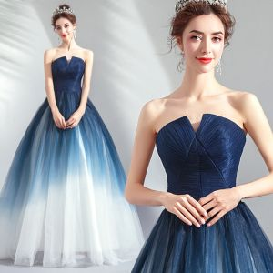 Chic / Beautiful Navy Blue Gradient-Color Evening Dresses  2019 A-Line / Princess Strapless Sleeveless Backless Floor-Length / Long Formal Dresses