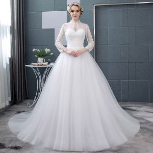Affordable White See-through Wedding Dresses 2018 Ball Gown High Neck Long Sleeve Backless Pearl Ruffle Chapel Train