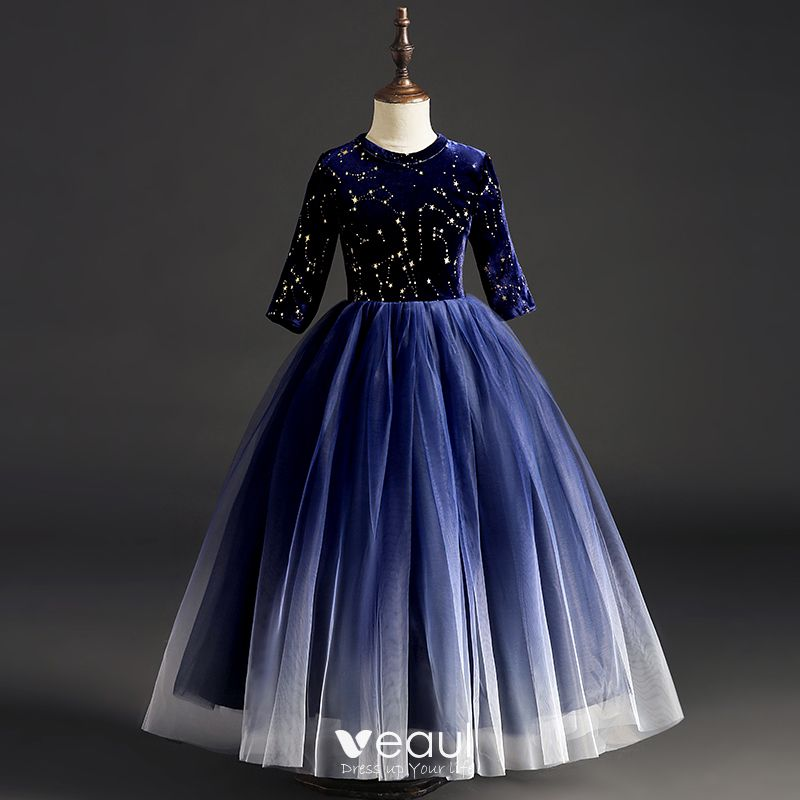 Starry Sky Navy Blue Suede Flower Girl Dresses 2019 Ball Gown Scoop Neck 1 2 Sleeves Glitter Sequins Floor Length Long Ruffle Wedding Party Dresses