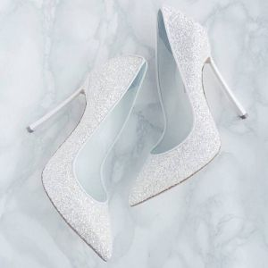 Sparkly White Sequins Wedding Shoes 2019 12 cm Stiletto Heels Pointed Toe Wedding Pumps