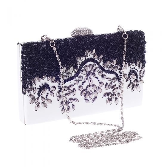 Chic / Beautiful Ivory Beading Pearl Rhinestone Metal Clutch Bags 2018