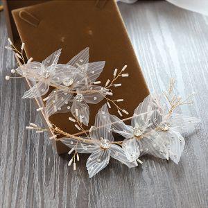 Piękne Złote Ozdoby Do Włosów Ozdoby Do Włosów Ślubne 2020 Stop Kwiat Jedwabiu Frezowanie Rhinestone Ślub Akcesoria