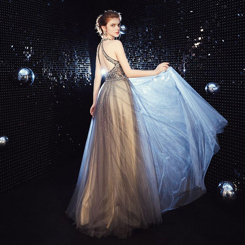Illusion Champagne Grey Evening Dresses  2020 A-Line / Princess Scoop Neck Sleeveless Beading Rhinestone Floor-Length / Long Ruffle Backless Formal Dresses