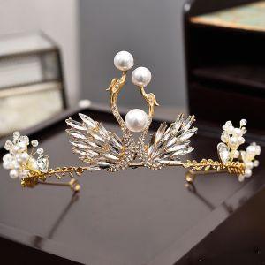 Amazing / Unique Gold Metal Accessories 2018 Pearl Rhinestone Crystal Tiara