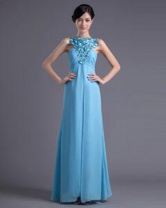 Mode Chiffon Faltete Applique Bateau Bodenlangen Abendkleid
