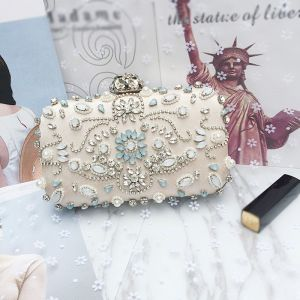 Chic / Beautiful 2017 Black Apricot / Beige Leaf Crystal Rhinestone Leatherette Beach Evening Party Outdoor / Garden Clutch Bags