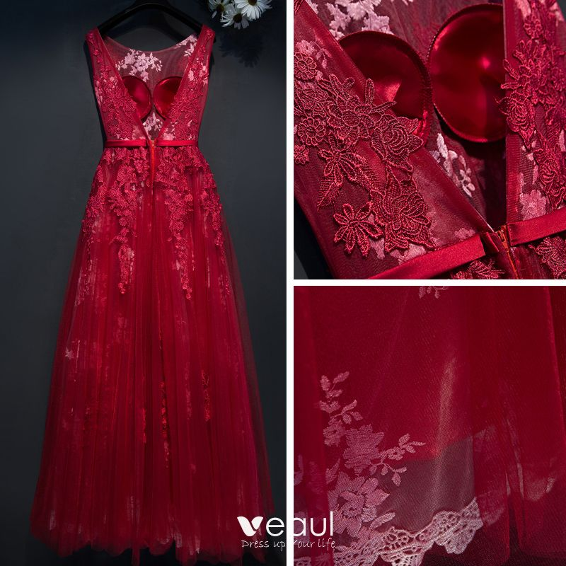 Chic / Beautiful Red Formal Dresses 2017 Empire Lace Flower Strappy Scoop Neck Sleeveless Ankle Length Evening Dresses